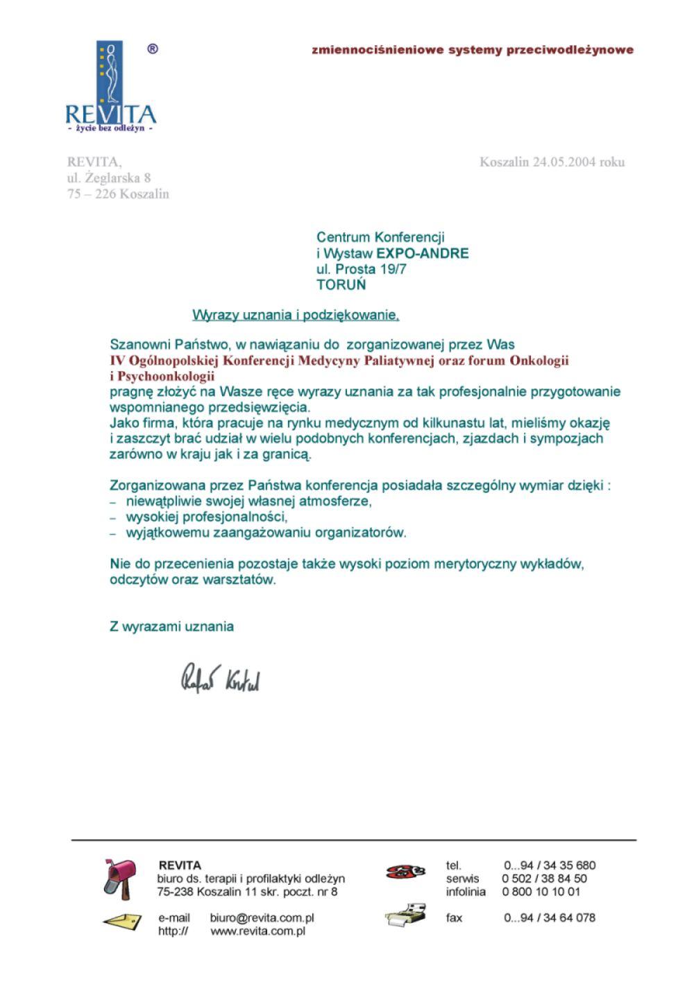 Podziękowania - Okręgowa Izba Pielęgniarek i Położnych w Toruniu; Zespół Opieki Paliatywnej im. Jana Pawła II Hospicjum Światło
