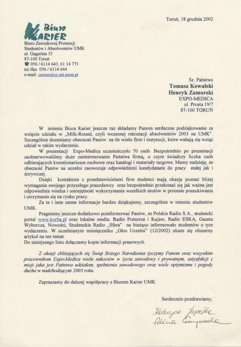 Podziękowania - Okręgowa Rada Pielęgniarek i Położnych w Toruniu